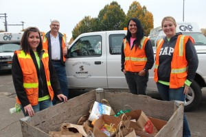 (L-R) Kapstone team members Mary Beam, Larry Chambers, Vicki Hesselgesser, and Sarah Bartel  delivered another 248 pounds of food Tuesday morning.