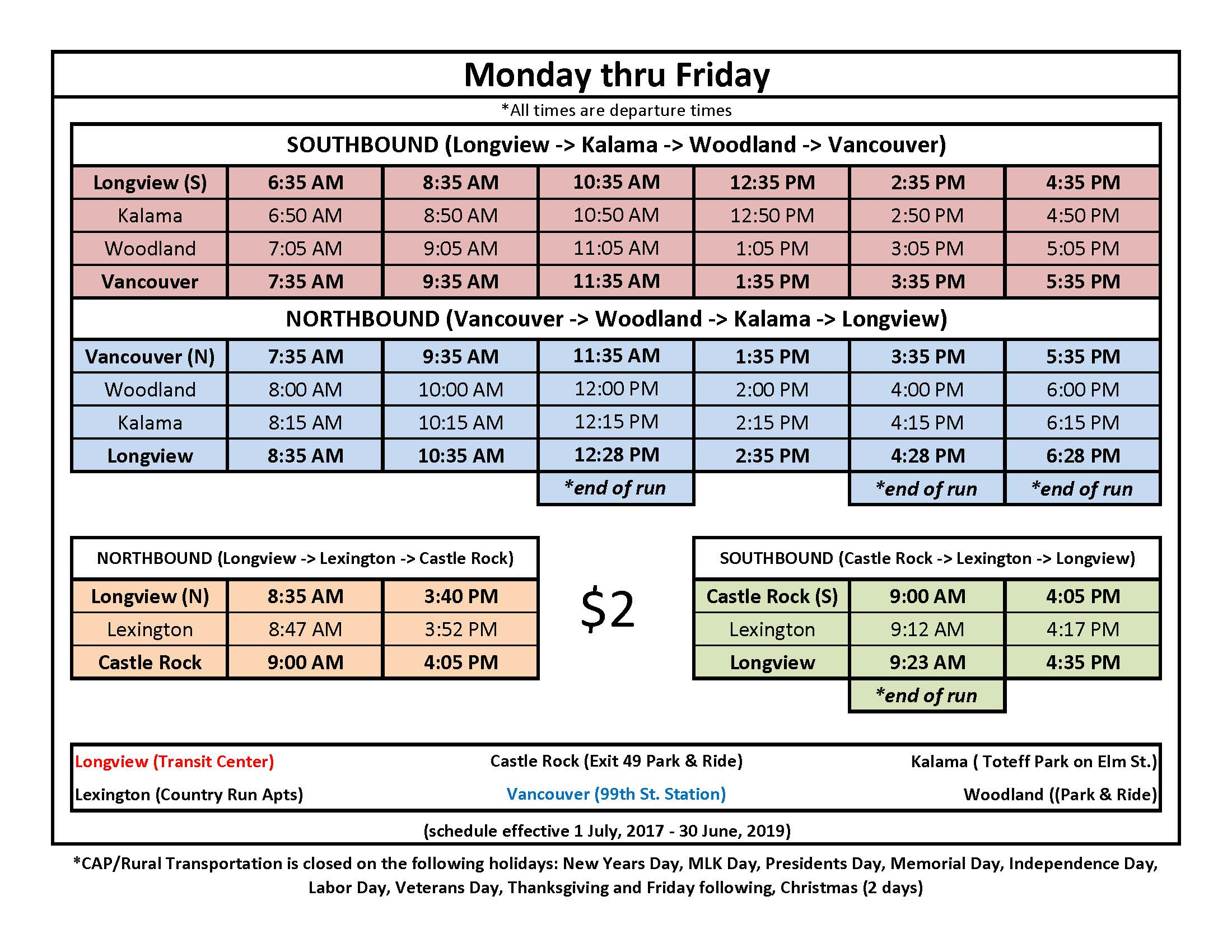 CAP Rural Transportation Schedule